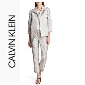 Calvin Klein Jacket Pant Suit -Tin Jaquard 10